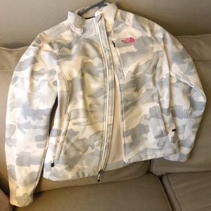 Size small white camo lined north face jacket